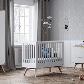 Crib 70 x 140 cm Nature - White White Vox