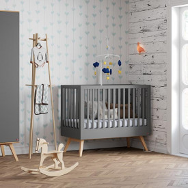 Crib 70 x 140 cm Nature - Anthracite Grey Vox
