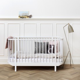 Wood Convertible Cot Bed - White White Oliver Furniture