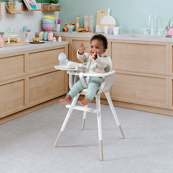 Ovo high chair plus - ice - taupe - Micunna
