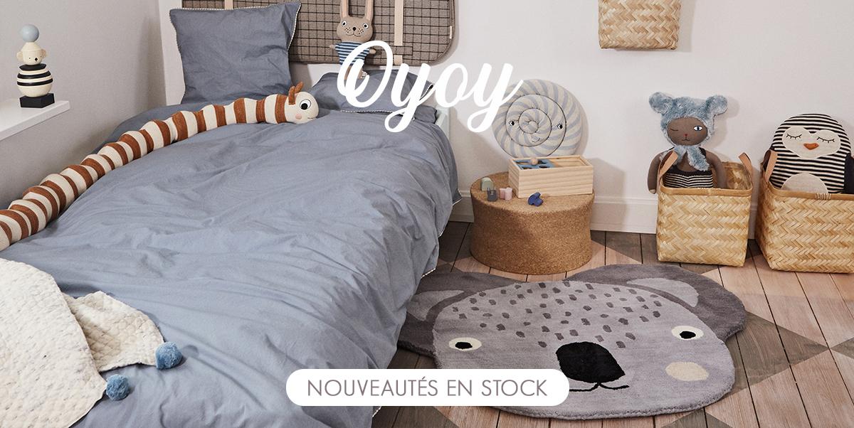 OYOY - Tapis enfant en stock, coussins, linge de lit, décoration